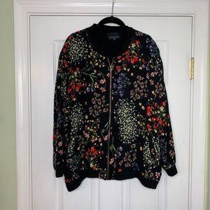Vibrant floral bomber jacket